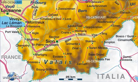 Map of Valais, Canton (State / Section in Switzerland