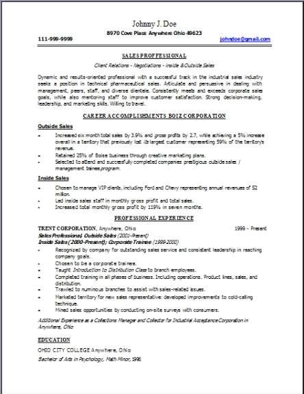 Technical Sales Resume, Occupational:examples,samples Free