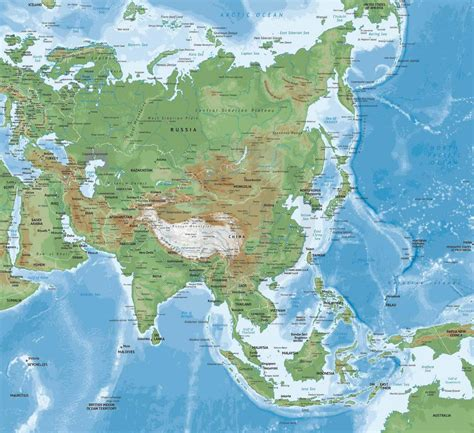 Vector Map of Asia Continent Physical   One Stop Map