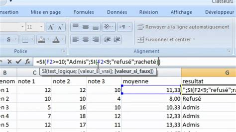 Excel les conditions - YouTube