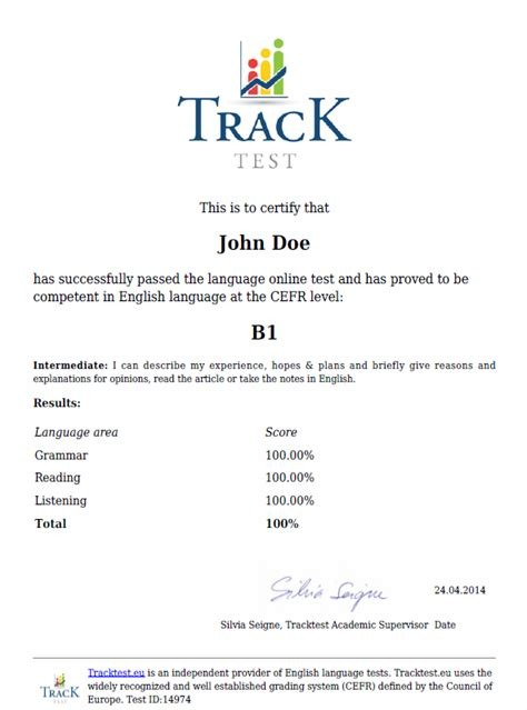 English certificate - TrackTest English