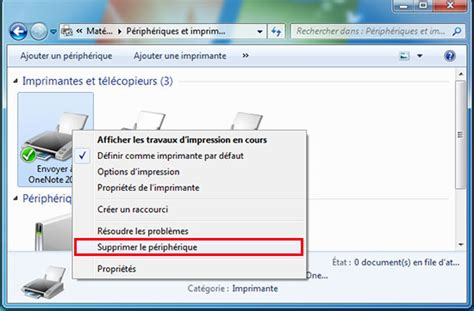Suppression d'une imprimante sous Windows 7