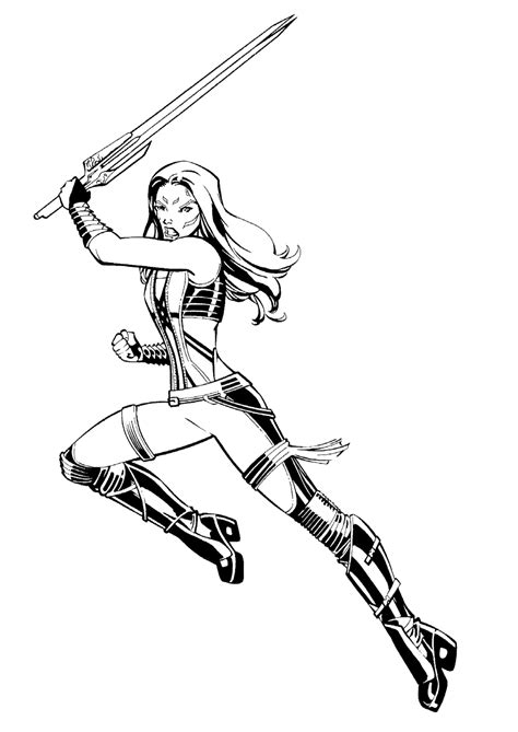 Coloring page - Gamora in battle