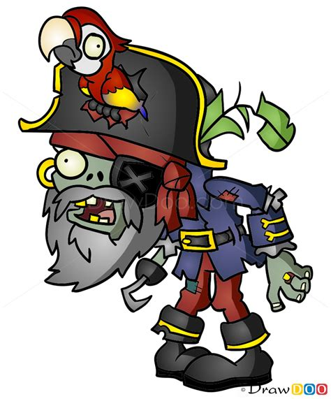 How to Draw Pirate Captaine Zombie, Plants vs Zombies