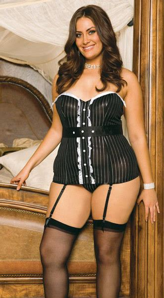 Tuxedo Strapless Bustier with G-string and Garters - EM4135